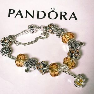 Pandora yellow princess charm bracelet 8.0